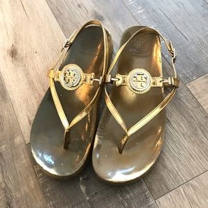 Tory Burch Gold Emblem Sandals size 8 1/2